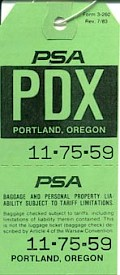 PDX Baggage tag