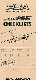 BAe-146 Checklists, 1987